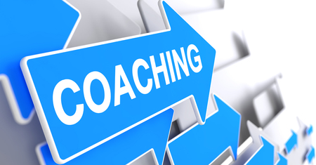 Coaching, Message on Blue Cursor. Coaching - Blue Pointer with a Text Indicates the Direction of Movement. 3D Illustration.