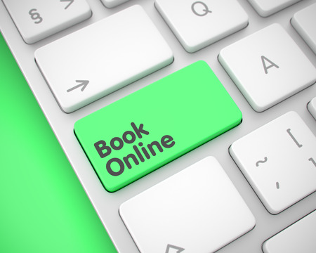 Book Online - Inscription on Green Keyboard Button. 3D.