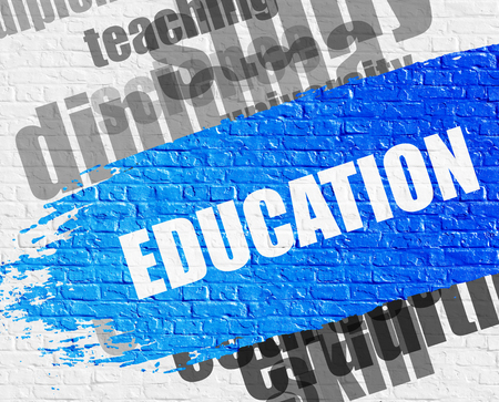 special education: Education on the Brickwall. Stock Photo