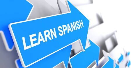 Learn Spanish - Label on Blue Pointer. 3D.
