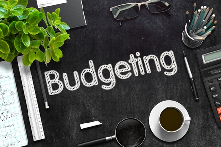 Black Chalkboard with Budgeting. 3D Rendering. Stock Photo