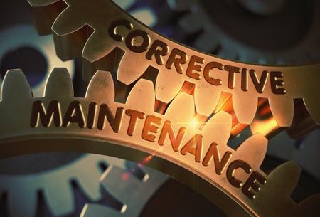 unplanned: Corrective Maintenance on Golden Cogwheels. 3D Illustration.