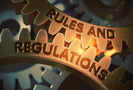 Rules And Regulations on Golden Gears. 3D Illustration. Stock Photo