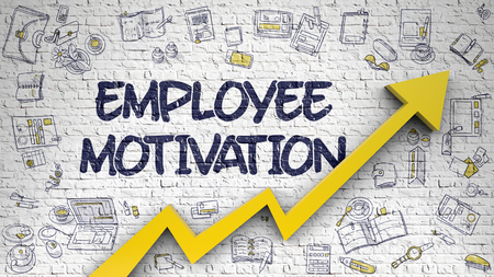 urge: Employee Motivation - Increase Concept with Doodle Icons Around on White Wall Background. Employee Motivation - Success Concept. Inscription on White Wall with Doodle Icons Around. 3d.