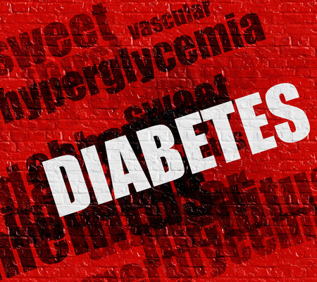Modern medical concept: Diabetes on the Red Brick Wall . Diabetes - on the Brickwall with Word Cloud Around .