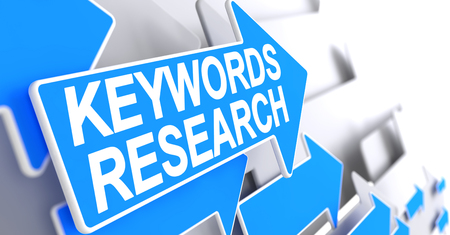 Keywords Research - Blue Pointer with a Message Indicates the Direction of Movement. Keywords Research, Message on Blue Cursor. 3D Illustration. Stock Photo
