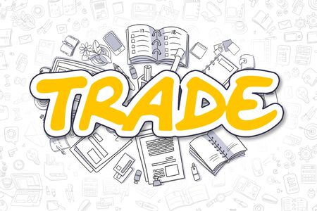 Doodle Illustration of Trade, Surrounded by Stationery. Business Concept for Web Banners, Printed Materials.