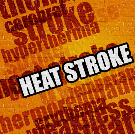 Modern medical concept: Heat Stroke on the Yellow Wall . Heat Stroke - on the Brick Wall with Word Cloud Around . Stock Photo