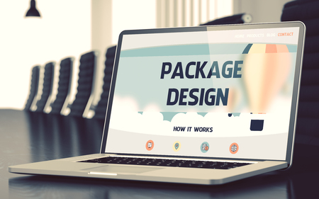 publicidad exterior: Package Design on Landing Page of Laptop Screen. Closeup View. Modern Conference Room Background. Blurred. Toned Image. 3D Render.