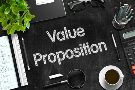 Value Proposition on Black Chalkboard. 3D Rendering.