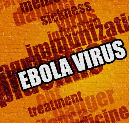 hemorrhagic: Modern medicine concept: Ebola Virus on Yellow Wall .