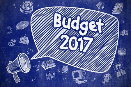 Budget 2017 - Cartoon Illustration on Blue Chalkboard.