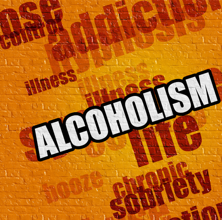 sobriety: Modern medical concept: Alcoholism on the Yellow Wall .