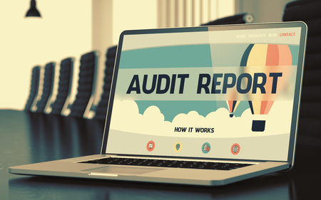 revision: Audit Report on Landing Page of Mobile Computer Screen. Closeup View. Modern Meeting Room Background. Toned. Blurred Image. 3D Render. Stock Photo