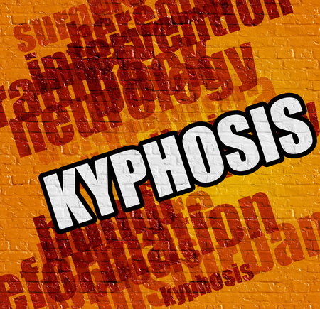 Modern health concept: Kyphosis - on the Brick Wall with Wordcloud Around . Kyphosis on Yellow Brick Wall .
