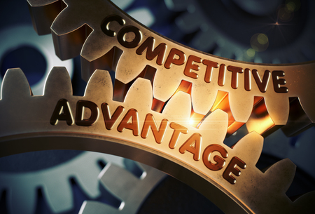 Competitive Advantageon the Golden Cogwheels. Competitive Advantage on Mechanism of Golden Metallic Gears with Lens Flare. 3D Rendering. Stock Photo