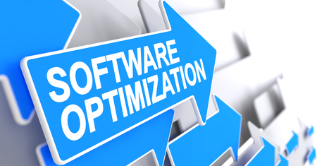 Software Optimization - Label on the Blue Pointer. 3D. Stock Photo