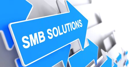 SMB Solutions, Label on Blue Cursor. SMB Solutions - Blue Cursor with a Inscription Indicates the Direction of Movement. 3D Illustration. Banco de Imagens