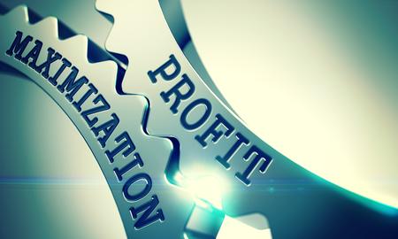 maximization: Profit Maximization - Mechanism of Metallic Cogwheels . 3D .