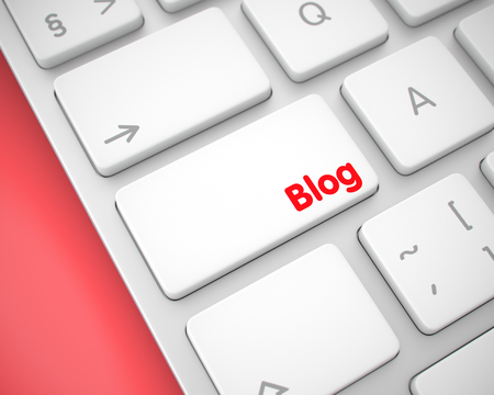 Blog - Message on the White Keyboard Button. 3D.