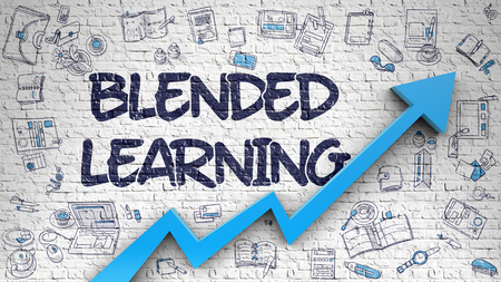 Blended Learning Drawn on White Brick Wall. 3d