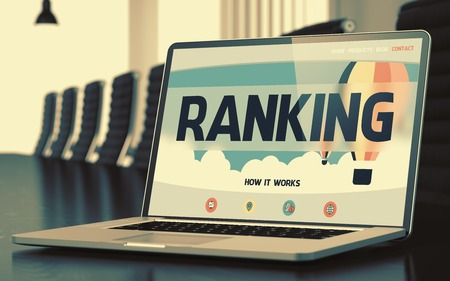 Ranking on Laptop in Conference Hall. 3d Stock Photo