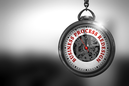 Business Process Redesign on Pocket Watch. 3D Illustration.