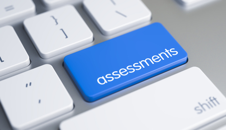 assessments: Assessments - Caption on Blue Keyboard Key. 3D. Stock Photo