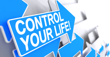 Control Your Life - Label on Blue Cursor. 3D.