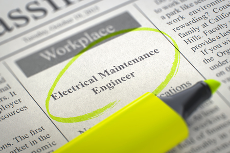 Now Hiring Electrical Maintenance Engineer. 3d. Stock Photo