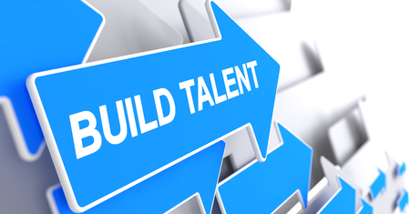 Build Talent - Label on Blue Arrow. 3D.