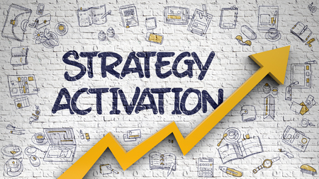 Strategy Activation Drawn on Brick Wall. 3d.