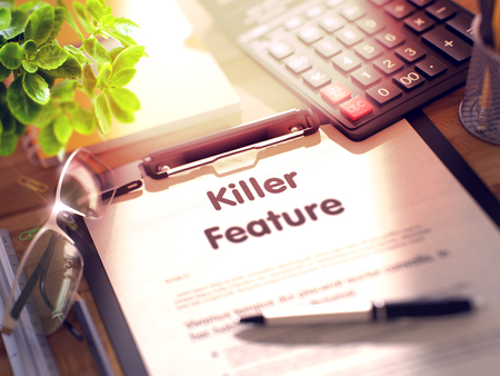 feature: Killer Feature Concept on Clipboard. 3d.