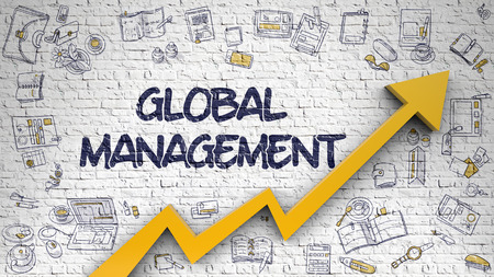 foreign national: Global Management Drawn on White Brick Wall. 3d.