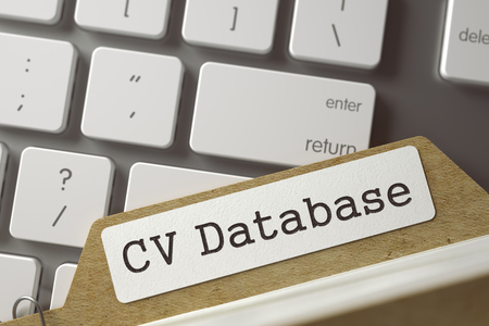 Index Card CV Database. 3d. Stock Photo