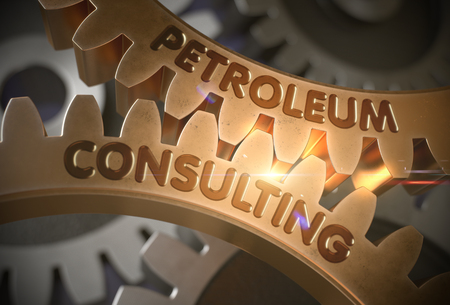 Petroleum Consulting Concept. Golden Gears. 3D Illustration.