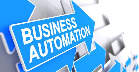 erp: Business Automation - Message on Blue Arrow. 3D. Stock Photo