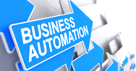 Business Automation - Message on Blue Arrow. 3D. Stock Photo
