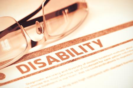 critical conditions: Diagnosis - Disability. Medicine Concept. 3D Illustration.