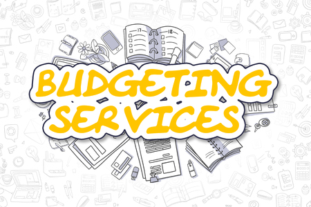 allocate: Budgeting Services - Cartoon Yellow Word. Business Concept. Stock Photo