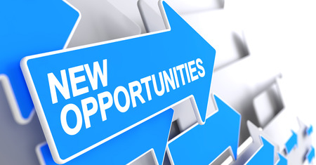 New Opportunities - Label on the Blue Pointer. 3D. Stock Photo