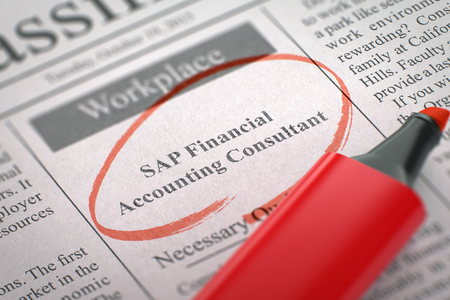 SAP Financial Accounting Consultant Hiring Now. 3d. Stock Photo