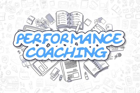 career coach: Performance Coaching - Cartoon Blue Text. Business Concept.