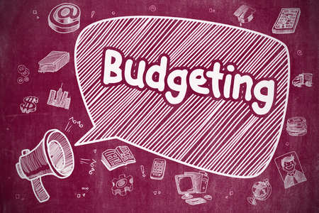 social movement: Budgeting - Cartoon Illustration on Red Chalkboard.