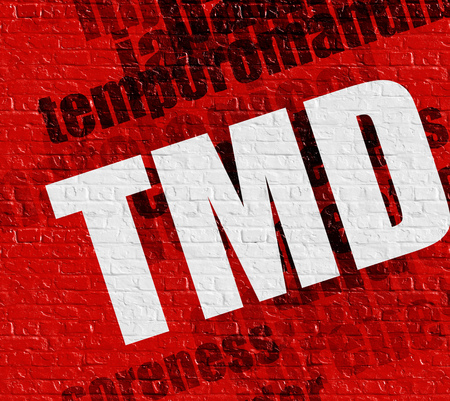 word of mouth: Medicine concept: TMD on Red Brick Wall . Stock Photo