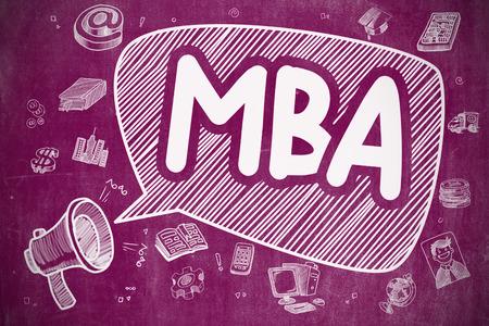 MBA - Doodle Illustration on Purple Chalkboard. Stock Photo