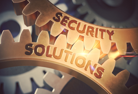 Security Solutions on the Golden Gears. 3D Illustration.