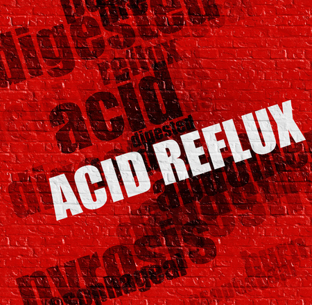 Modern medical concept: Acid Reflux on Red Brick Wall .