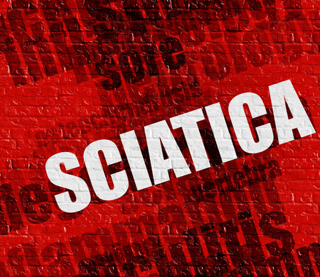 spinal disks: Modern health concept: Sciatica on the Red Wall . Stock Photo
