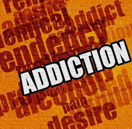 Medicine concept: Addiction on the Yellow Wall . Stock Photo